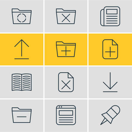 Editable Pack Of Deleting Folder, Page, Add And Other Elements. Vector Illustration Of 12 Workplace Icons. Фото со стока - 82593330