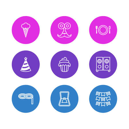 Vector Illustration Of 9 Banquet Icons. Editable Pack Of Cutlery, Cap, Speaker And Other Elements. Illustration
