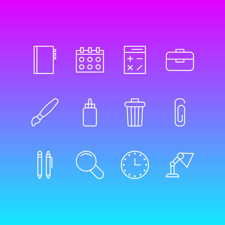 Editable Pack Of Illuminator, Pencil, Date And Other Elements. Vector Illustration Of 12 Tools Icons.
