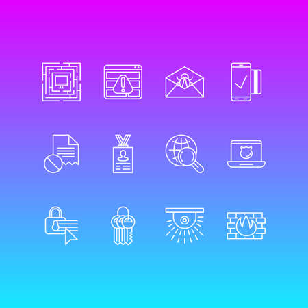 Vector Illustration Of 12 Data Icons. Editable Pack Of Key Collection, Account Data, Corrupted Mail And Other Elements.