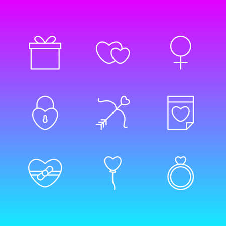 Vector Illustration Of 9 Amour Icons. Editable Pack Of Lock, Valentine, Hearts And Other Elements. Illustration