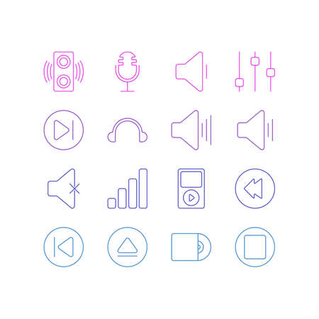 electronic music: Editable Pack Of Rewind, Stabilizer, Subsequent And Other Elements. Vector Illustration Of 16 Music Icons.