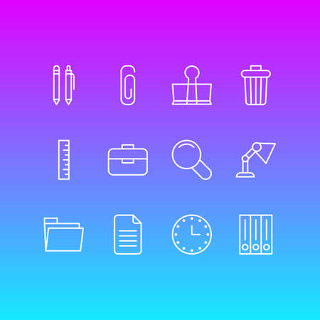 junk: Vector Illustration Of 12 Instruments Icons. Editable Pack Of Meter, Paperclip, Illuminator And Other Elements. Illustration