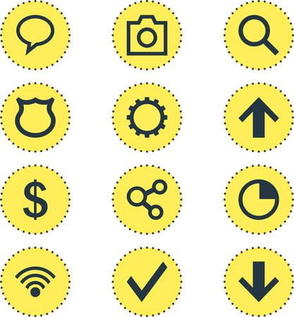 Vector Illustration Of 12 Interface Icons. Editable Pack Of Cogwheel, Cordless Connection, Confirm And Other Elements. Illustration