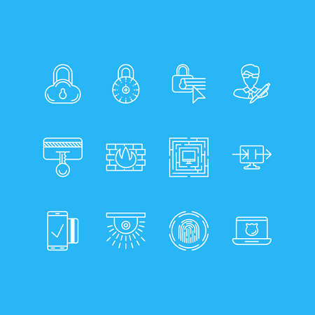 valid: Vector Illustration Of 12 Protection Icons. Editable Pack Of System Security, Safety Key, Camera And Other Elements.