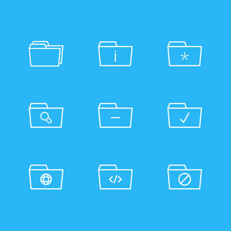 Vector Illustration Of 9 Dossier Icons. Editable Pack Of Significant, Done, Locked And Other Elements. Illustration