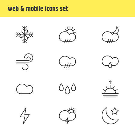 moonshine: Vector Illustration Of 12 Weather Icons. Editable Pack Of Lightning, Crescent, Rainy And Other Elements. Illustration