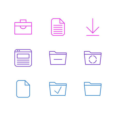 Vector Illustration Of 9 Office Icons. Editable Pack Of Deleting Folder, Portfolio, Loading And Other Elements.