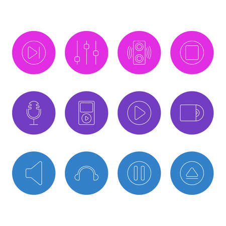 Vector Illustration Of 12 Music Icons. Editable Pack Of Start, Rewind, Lag And Other Elements.