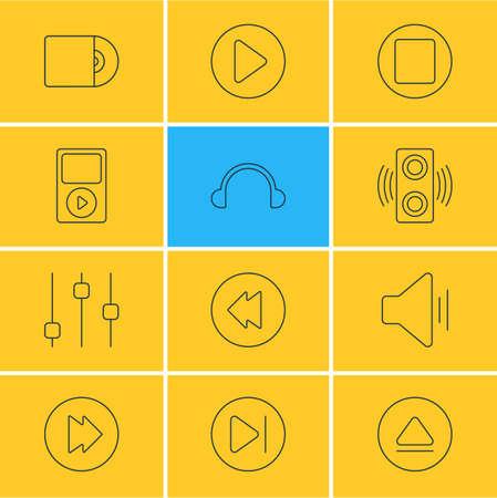 Illustrazione vettoriale di 12 icone di melodia. Modificabile Pack Of Amplifier, Advanced, Reversing e altri elementi. Archivio Fotografico - 82621957