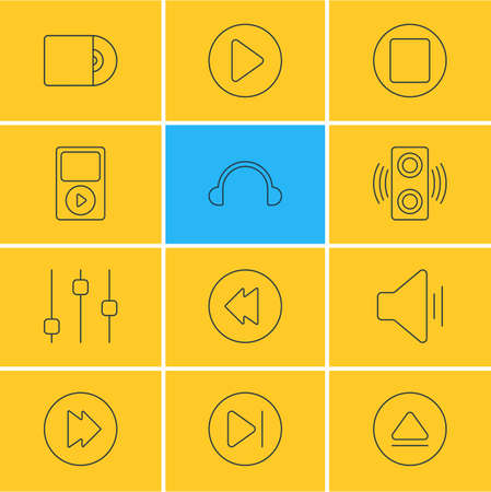 Vector Illustration Of 12 Melody Icons. Editable Pack Of Amplifier, Advanced, Reversing And Other Elements.