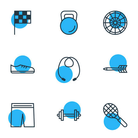 Vector Illustration Of 9 Fitness Icons. Editable Pack Of Weight, Target, Uniform And Other Elements.