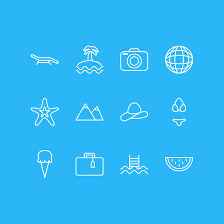 pinnacle: Vector Illustration Of 12 Season Icons. Editable Pack Of Fish, Longue, Earth And Other Elements.