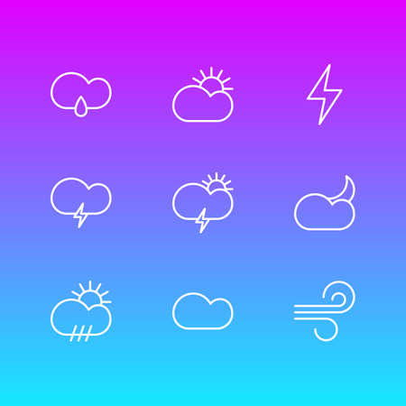 Vector Illustration Of 9 Atmosphere Icons. Editable Pack Of Breeze, Cloudy, Rain And Other Elements. Illustration