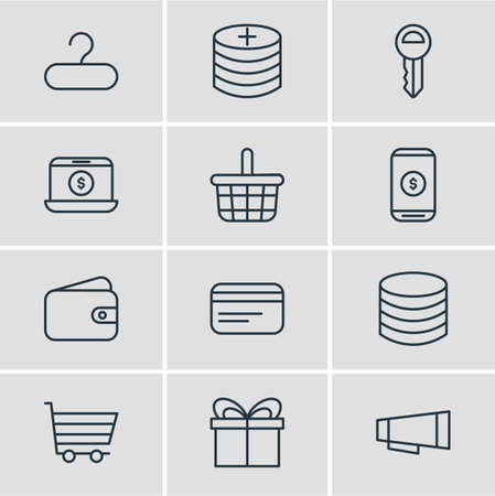 Vector Illustration Of Shopping Icons.