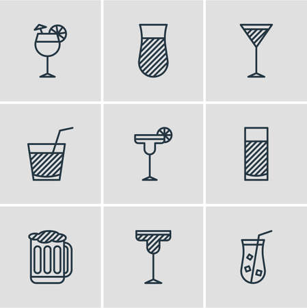 ale: Vector Illustration Of Beverage Icons.