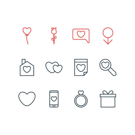 Vector Illustration Of 12 Amour Icons. Editable Pack Of Valentine, Gift, Engagement And Other Elements.
