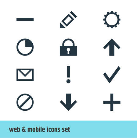 Vector Illustration Of 12 Interface Icons. Editable Pack Of Alert, Stopwatch, Downward And Other Elements. Stock Vector - 82620112