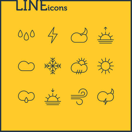 Editable Pack Of Drip, Lightning, Weather And Other Elements. Vector Illustration Of 12 Weather Icons.