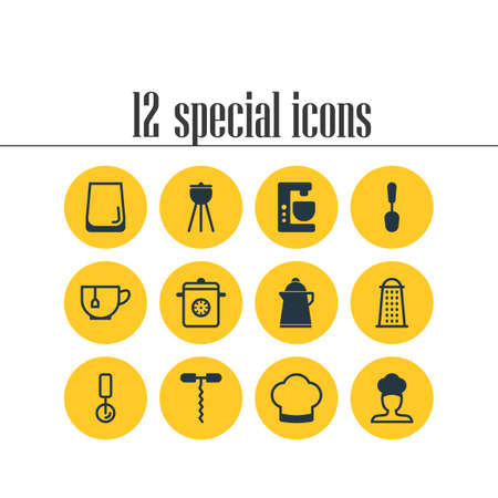 Editable Pack Of Cook, Round Slicer, Glass Cup And Other Elements. Vector Illustration Of 12 Restaurant Icons.