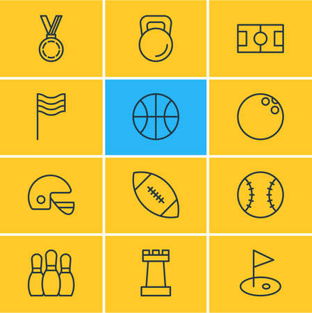 Editable Pack Of Hoop, Batting, Flag And Other Elements. Vector Illustration Of 12 Sport Icons.