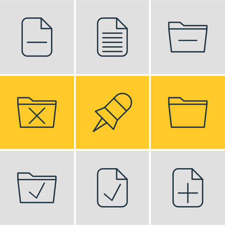 Vector Illustration Of 9 Workplace Icons. Editable Pack Of Note, Plus, Minus And Other Elements.