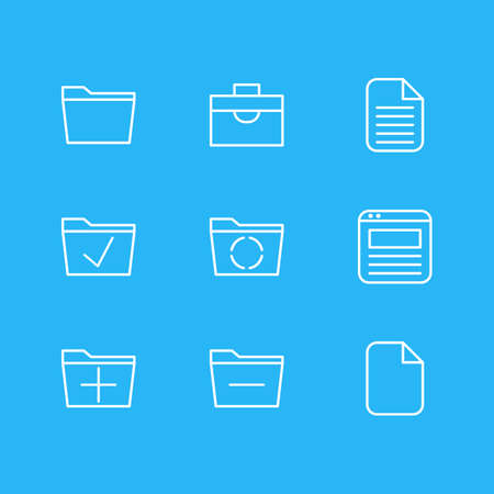 Editable Pack Of Deleting Folder, Loading, Page And Other Elements. Vector Illustration Of 9 Office Icons.