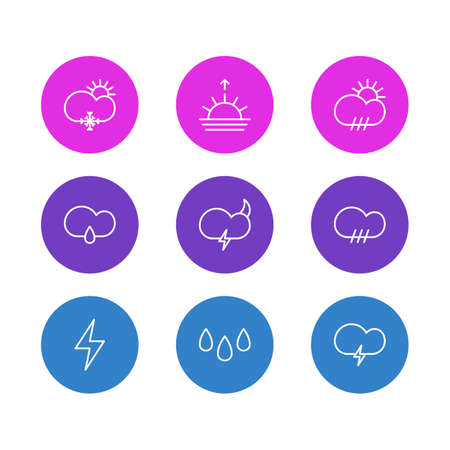 barrage: Editable Pack Of Lightning, Drip, Rain And Other Elements. Vector Illustration Of 9 Weather Icons. Illustration