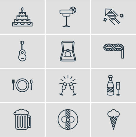 feast: Editable Pack Of Ice Cream, Firecracker, Engagement And Other Elements. Vector Illustration Of 12 Party Icons.