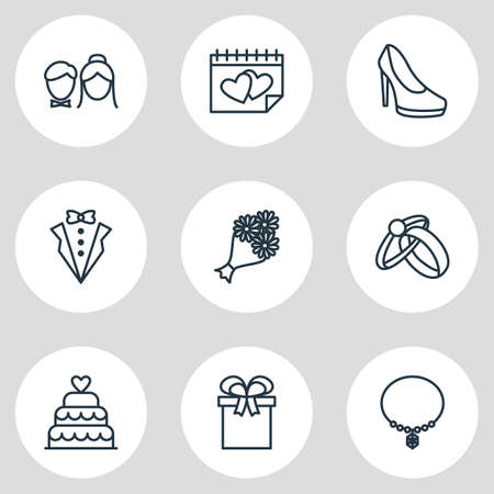 wedded: Vector Illustration Of 9 Marriage Icons. Editable Pack Of Jewelry, Couple, Engagement And Other Elements. Illustration