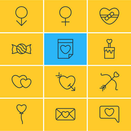 Vector Illustration Of 12 Passion Icons. Editable Pack Of Lollipop, Woman, Messenger And Other Elements. Illustration