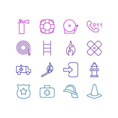 necessity: Editable Pack Of Badge, Taper, Lifesaver And Other Elements. Vector Illustration Of 16 Necessity Icons.