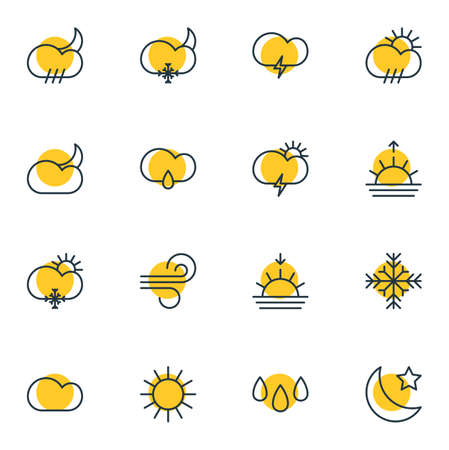 hail: Editable Pack Of Moon Month, Drip, Snowflake And Other Elements. Vector Illustration Of 16 Sky Icons.
