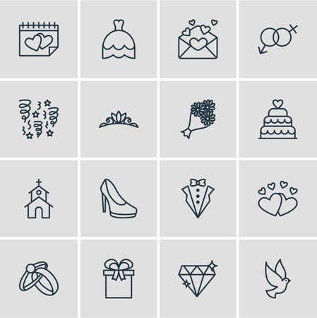 Vector Illustration Of 16 Marriage Icons. Editable Pack Of Decoration, Bridal Bouquet, Brilliant And Other Elements.
