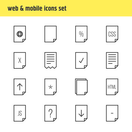 css: Vector Illustration Of 16 Paper Icons. Editable Pack Of Code, Percent, Script And Other Elements. Illustration