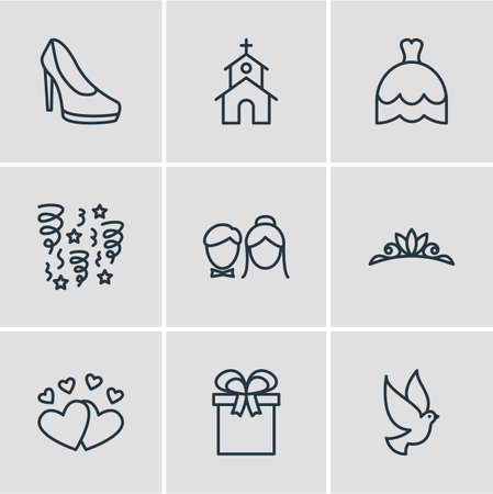 Editable Pack Of Present, Love, Building And Other Elements. Vector Illustration Of 9 Marriage Icons.