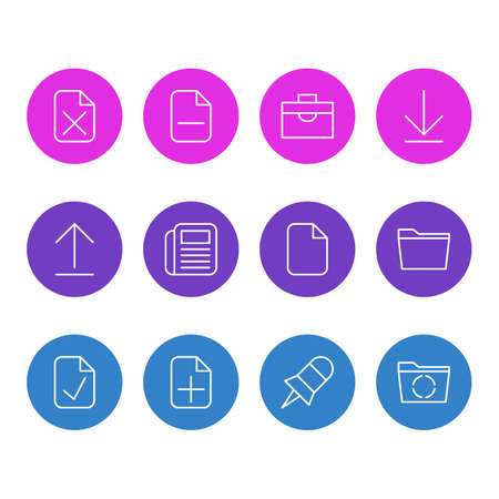 Editable Pack Of Portfolio, Downloading, Note And Other Elements. Vector Illustration Of 12 Office Icons.