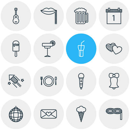 Vector Illustration Of 16 Party Icons. Editable Pack Of Ice Cream, Heart Letter, Soft Drink And Other Elements.