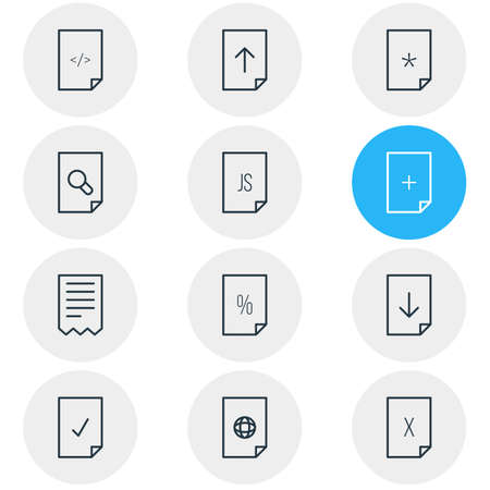include: Vector Illustration Of 12 Paper Icons. Editable Pack Of Download, Search, HTML And Other Elements.  Illustration