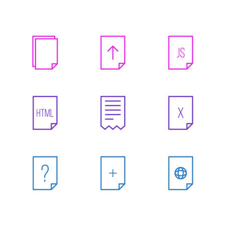 markup: Vector Illustration Of 9 File Icons. Editable Pack Of Question, Internet, Folder And Other Elements.