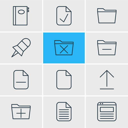tack: Vector illustration of 12 workplace icons. Editable pack of document, done, book and other elements.