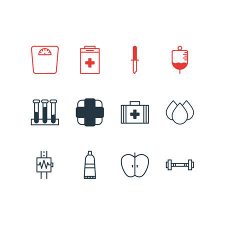Vector illustration of 12 medical icons. Editable pack of weighing, antibody, exigency and other elements.