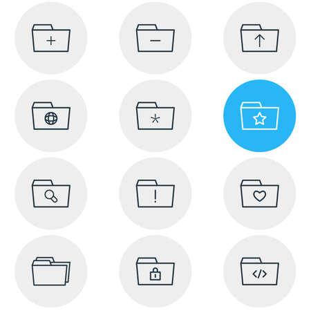 dossier: Illustration Of 12 Dossier Icons.
