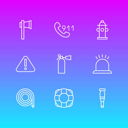 Vector Illustration Of 9 Extra Icons. Editable Pack Of Ax, Hosepipe, Spike And Other Elements.