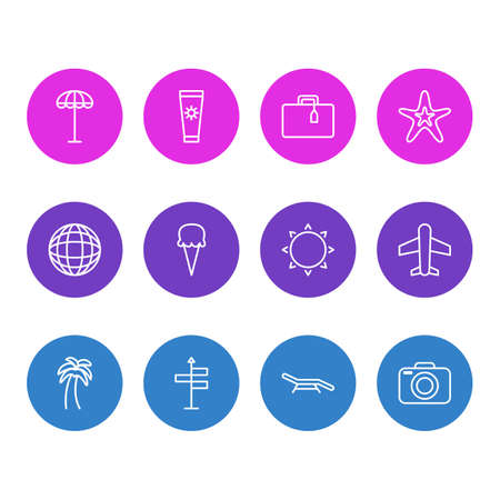 Vector Illustration Of 12 Season Icons. Editable Pack Of Island , Earth , Airplane Elements. Illustration