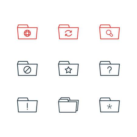 9 フォルダー アイコンのベクター イラストです。重要な編集可能なパック, 質問, 固定およびその他の要素。