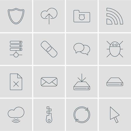Vector Illustration Of 16 Internet Icons. Editable Pack Of Information Load, Letter, Fastener And Other Elements. Illustration