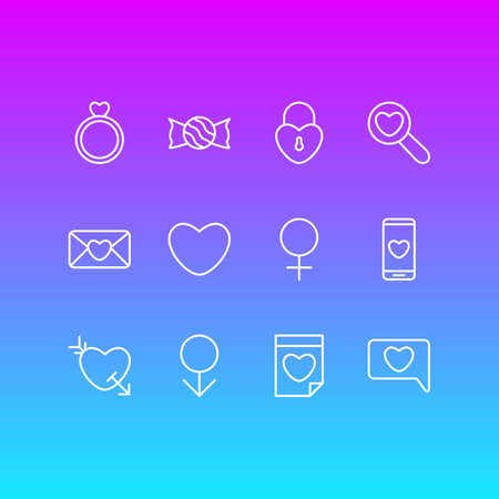 Vector Illustration Of 12 Amour Icons. Editable Pack Of Engagement, Invitation, Smartphone And Other Elements. Illustration