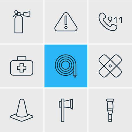 danger: Vector Illustration Of 9 Emergency Icons. Editable Pack Of Safety, Medical Case, Hosepipe And Other Elements. Illustration