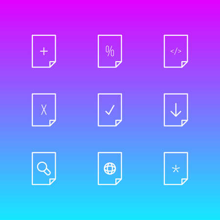Vector Illustration Of 9 Page Icons. Editable Pack Of Percent, Search, Upload And Other Elements.
